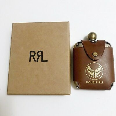 Rrl Ralph Lauren Brown Flask Leather New
