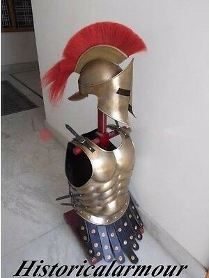 """brass Finish ~ Medieval Roman Spartan ~ 300 Movie Helmet Armor ~ Muscle Jacket"""
