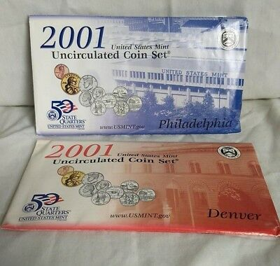 2001 P&D US Mint 20 pc Brilliant Uncirculated Coin Set in Orig Envs w/ COAs MNT
