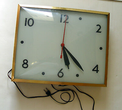 1950-60s CURVED GLASS & TIN SWIHART PRODUCTS PLAIN FACE ADVERTISING SIGN CLOCK