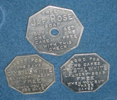 Group of Three Soap Tokens - J-p Rose, Crystal White, (2 different)