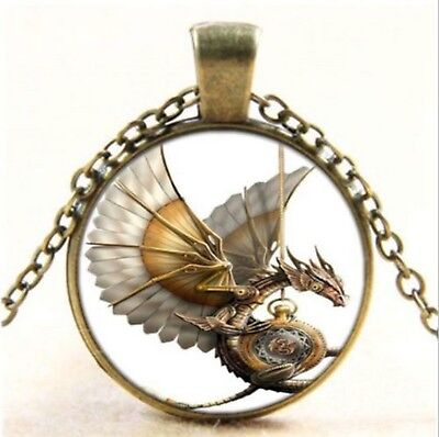 Game of Thrones Targaryen Dragon Cabochon Glass Bronze Vintage Pendant Necklace
