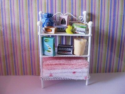 White Wire Shelf And Accessories Dolls House Miniatures