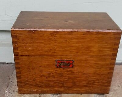 "1930 Wood WEIS Dove Tail Recipe Box 5 1/4"" 4 1/4"" Kitchen Accessories"