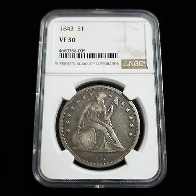 1843 US Seated Liberty Silver $1 Dollar NGC VF30 Nice Collector Coin NR6005