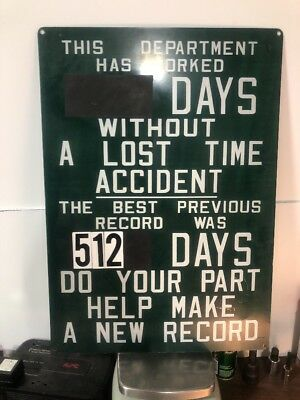 Industrial Days Without A Lost Time Accident & Previous Record Sign Vintage