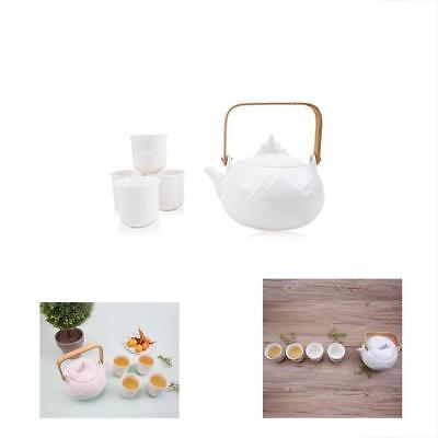Japanese Tea Sets Mountain Porcelain With Wooden Handle, 5-Piece Teapot Cups For