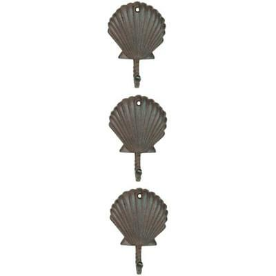 Scallop Coat Hooks Shell Wall Hangers Cast Iron Antique Brown - Set Of 3 For Pot