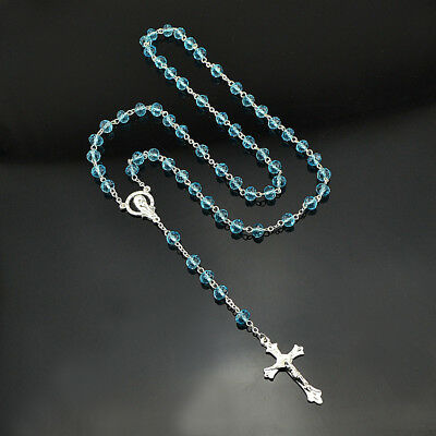 Women Men Catholic Cross Silver Crystal Rosary Necklace Lake Blue Prayer Beads