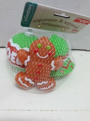 Infantino Go Gaga 3 Pack of Squeeze Squeak Ornaments Gingerbread Baby Toy 0m+