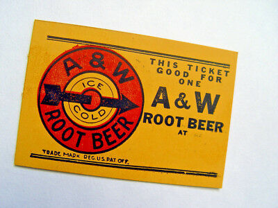 Original Little A&w Root Beer Card With Old Fashion Advertising Sign Trademark