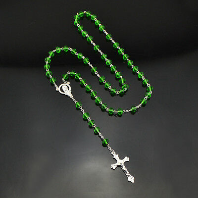 Christian Women Catholic Cross Silver Rosary Necklace Green Crystal Prayer Beads