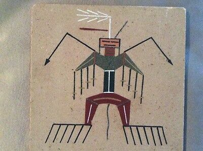 Vintage American Navajo Indian Sand Painting Hanging Wall Art Little Thunder God