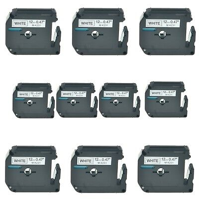 """US STOCK 10PK Black on White Label Tape M-K231 MK231 for Brother P-touch 1/2"""""""