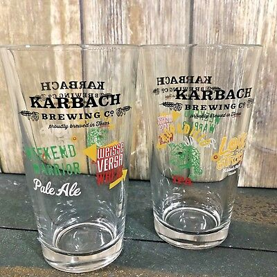 Karbach Brewing Company Draft Beer Glass Craft Brewery Logos Pint Lot of 2