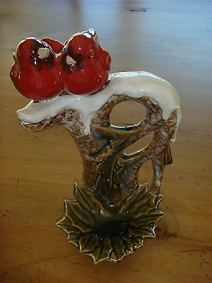 Ceramic Pair of Cardinals on Snowy Branch - Candy Dish/Votive Holder