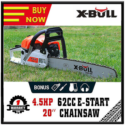 "X-BULL 62cc Petrol Commercial Chainsaw 20"" Bar Chain Saw E-Start Pruning NEW"