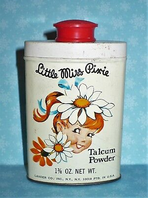 Vintage Little Miss Pixie Talcum Powder Tin By Lander Great Graphics