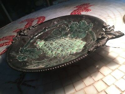 beautiful and rare Large vintage/antique copper or bronze tray ,grapes motive