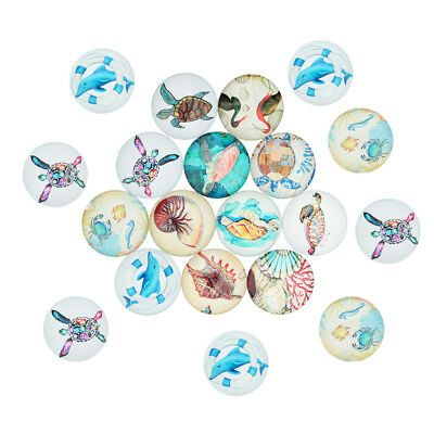 20x Round 12mm Ocean Style Glass Cabochon Cameo DIY Embellishments Jewelry