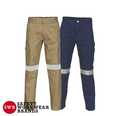 DNC Workwear Mens Cotton Drill Cargo Pants 3M Reflective Tape Tradie Work 3319
