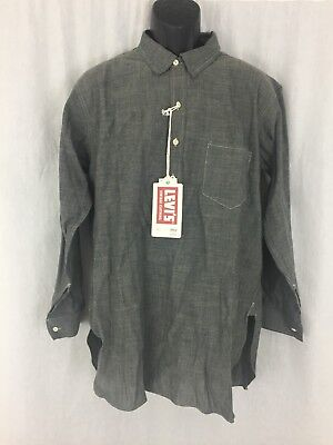 Mens Levis Vintage 1920 grey cotton Sunset Chambray pullover shirt size L New