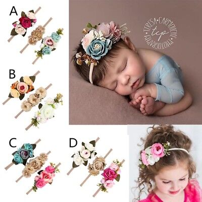 3Pcs Baby Girl Cute Princess Headbands Floral Crown Hair Band Accessories AU