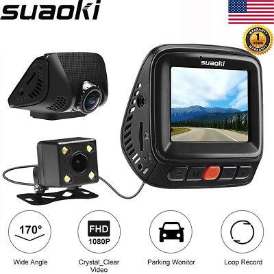 Suaoki Q8 Dual Camera Dash Cam Full HD 1080P Video Recorder G-Sensor GPS WiFi