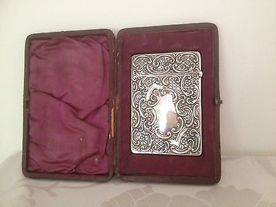 Antique Boxed Sterling Silver Calling Card Card Case - Birmingham 1901