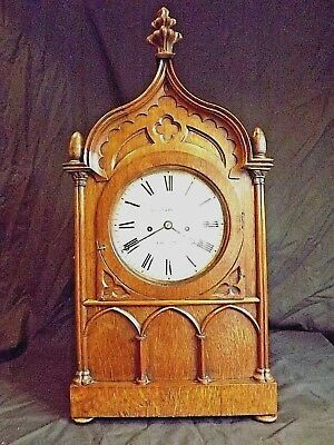 Superb 19c Gothic Oak Double Fusee Bracket Clock C1840.