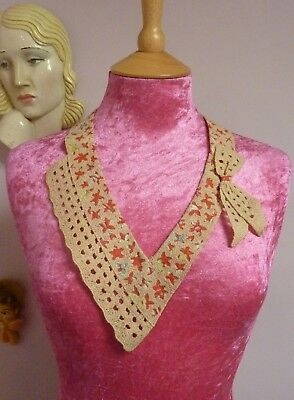 Vintage Collar~Dress, Top~Old Shop Stock~ V Neck W/ Bow, 1940s