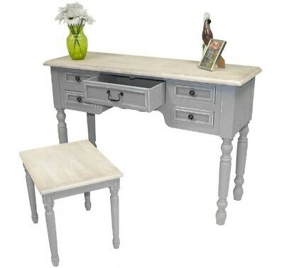 French Style Dressing Table Shabby Chic Antique Grey Furniture Large Vintage