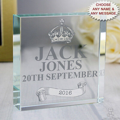 PERSONALISED Baby Gift. Crystal Token. Gift Boxed. Customised Newborn Gift Idea