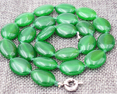 """13x18mm Green Emerald Gemstones Oval Beads Necklace 18"""" AAA"""