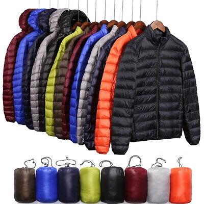 Packable Men's Duck Down Jacket Ultralight Stand Collar Outerwear Coat Puffer
