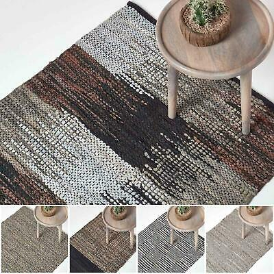 Real Leather Handwoven Black Grey Brown Hall Runner Textured Pattern 66 x 200 cm