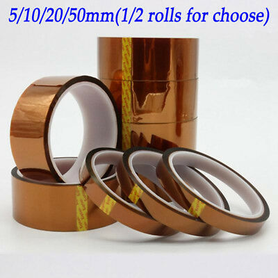 1/2pcs 5/10/20/50mm Kapton Tape Heat Resistant High Temperature Polyimide 100ft