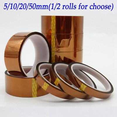 2PC 5/10/20/50mm Kapton Tape Heat Resistant High Temperature Polyimide 33M 100ft