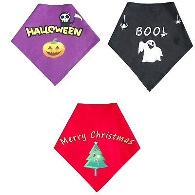 Halloween Christmas Style Pet Dog Bandana Puppy Collar Cotton Triangle Scarf