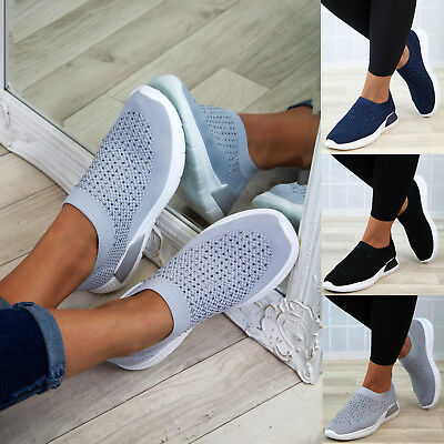 New Womens Casual Sock Trainers Flat Slip On Comfy Pumps Diamante Shoes Sizes