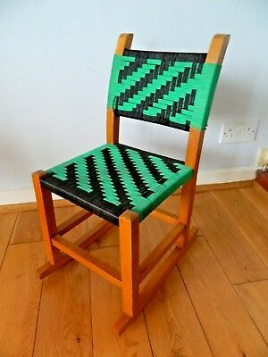 Vintage Retro Lovely Wooden Child's Rocker with Green/Black Stringing