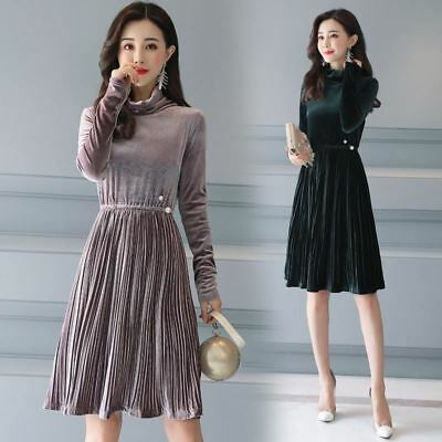 Women New Vintage Style Winter Fashion Velvet Solid Color Pleated Dress