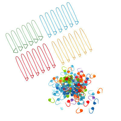 124Pc Locking Needle Clip Knitting Crochet Markers Stitch Holder Craft Tools