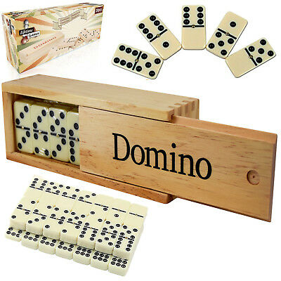 28 Piece Traditional Dominoes Set Double-Six Domino Wooden Case Family Game