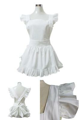 Cotton Retro Adjustable Ruffle Aprons With Pockets Kitchen Cooking Adults  Kids
