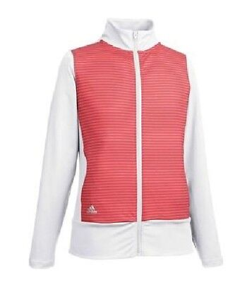 ADIDAS Girl Pink & White Full Zip Golf Sports Layering Jacket 13-14 Years BNWT