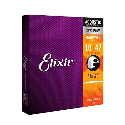 Elixir E11002 80/20 Bronze Acoustic guitar strings Nanoweb Ex Light 10-47