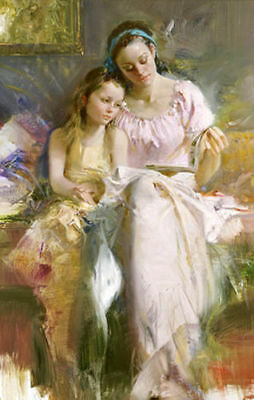ZOPT343 two ladys portrait reading 100% hand painted oil painting art canvas