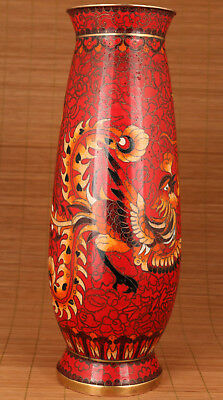 Big Rare Chinese Cloisonne Copper Hand  Painting Dragon Phoenix Statue Vase