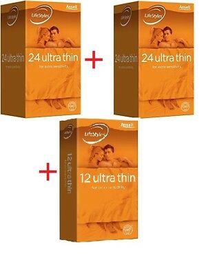 【Final Sale】Ansell LifeStyles(30x2+12 extra free)Ultra Thin Condoms(72 IN TOTAL)